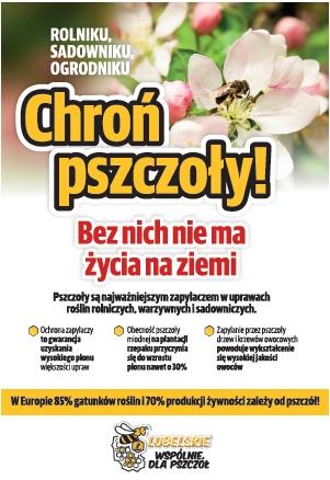 Plakat chroń pszczoły. Bez nich nie ma życia na ziemi.