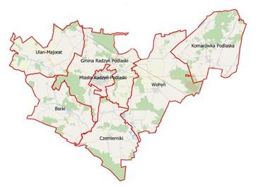 mapa powiatu radzyńskiego